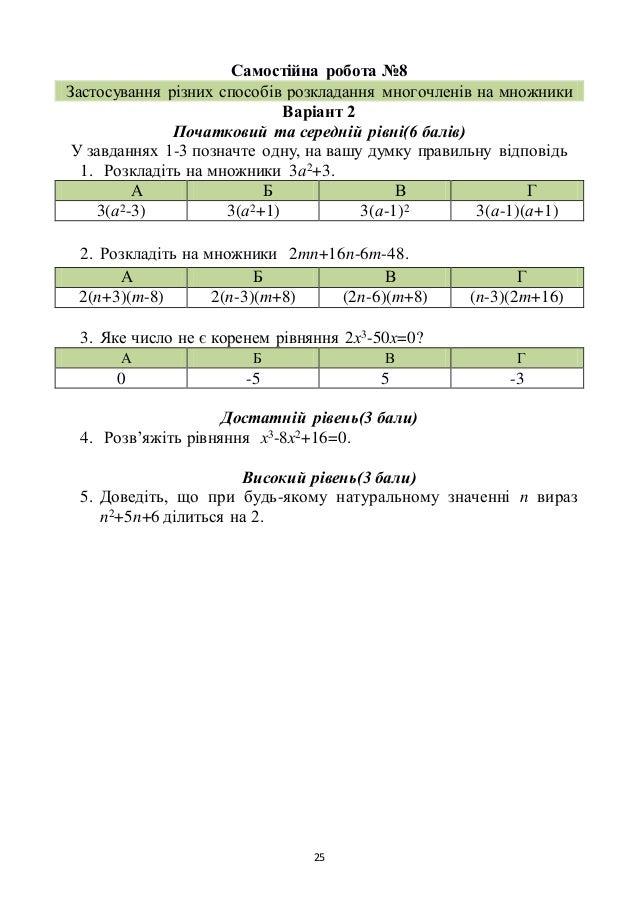 25 Самостійна робота №8 Застосування різних способів розкладання многочленів на множники Варіант 2 Початковий та середній ...