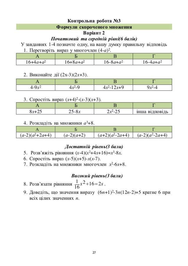 27 Контрольна робота №3 Формули скороченого множення Варіант 2 Початковий та середній рівні(6 балів) У завданнях 1-4 позна...