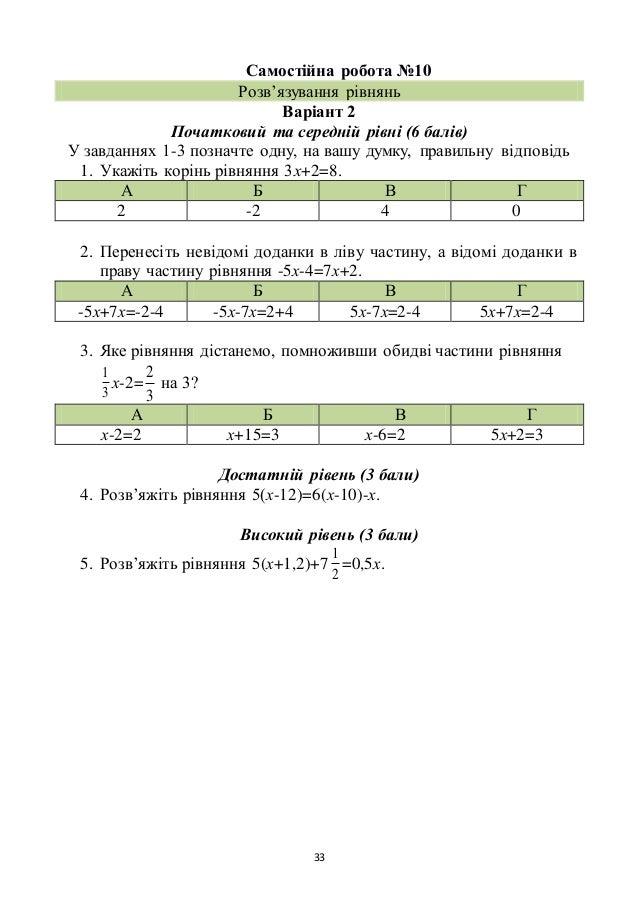 33 Самостійна робота №10 Розв'язування рівнянь Варіант 2 Початковий та середній рівні (6 балів) У завданнях 1-3 позначте о...