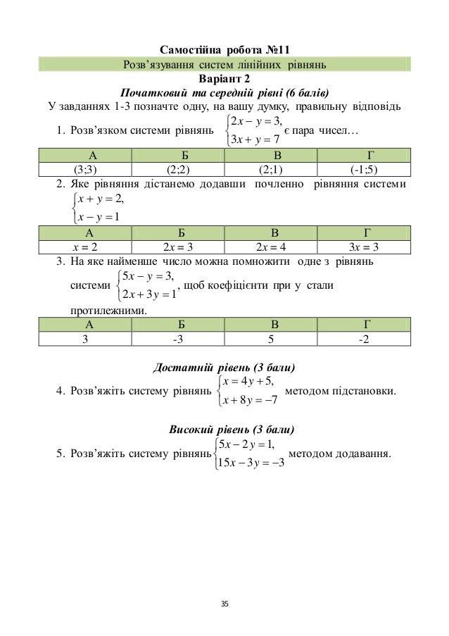 35 Самостійна робота №11 Розв'язування систем лінійних рівнянь Варіант 2 Початковий та середній рівні (6 балів) У завдання...