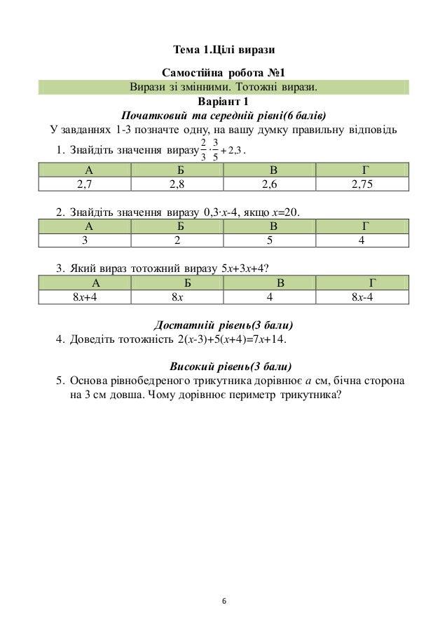 6 Тема 1.Цілі вирази Самостійна робота №1 Вирази зі змінними. Тотожні вирази. Варіант 1 Початковий та середній рівні(6 бал...
