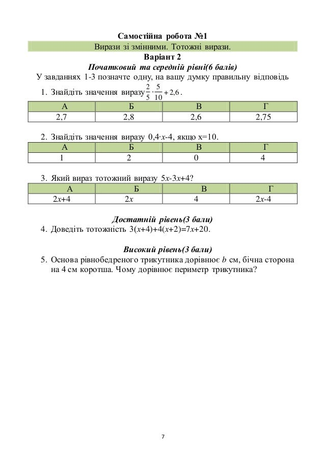 7 Самостійна робота №1 Вирази зі змінними. Тотожні вирази. Варіант 2 Початковий та середній рівні(6 балів) У завданнях 1-3...