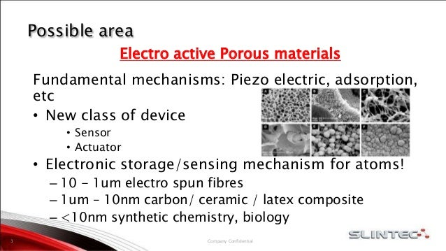 Possible area Electro active Porous materials Fundamental mechanisms: Piezo electric, adsorption, etc • New class of devic...
