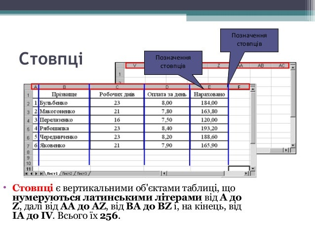 Рядки • Рядки є горизонтальними елементами таблиці, що нумеруються числами, наприклад, 2-й рядок, 17-й рядок, 28-й рядок. ...