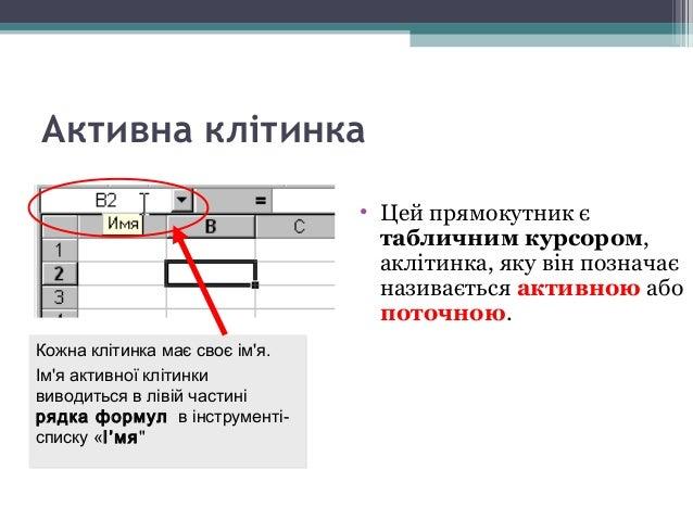 Щоб ввести дані в певну клітинку таблиці, слід спочатку її зробити активною. Дані в комірку вводяться з клавіатури і відоб...