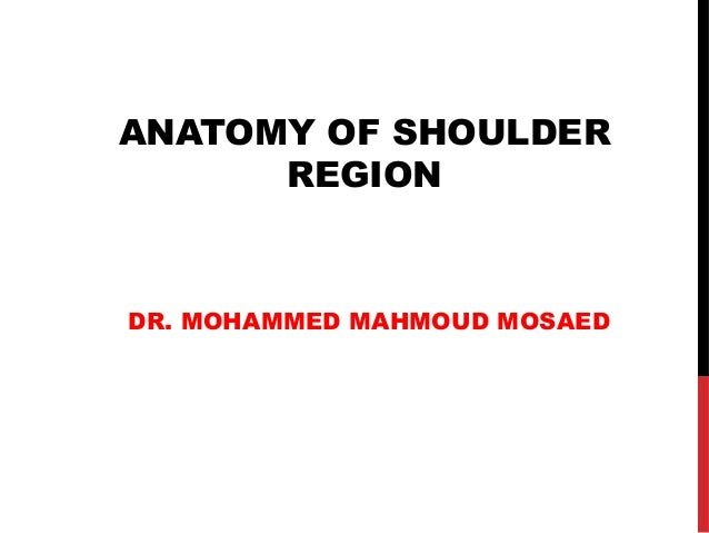 ANATOMY OF SHOULDER REGION DR. MOHAMMED MAHMOUD MOSAED