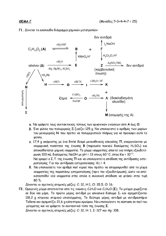 ΘΕΜΑ Γ (Moνάδες 7+3+4+4+7 = 25) Γ1. Δίνεται το ακόλουθο διάγραμμα χημικών μετατροπών: a. Nα γράψετε τους συντακτικούς τύπο...