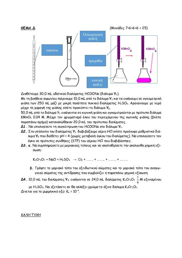 ΘΕΜΑ Δ (Moνάδες 7+6+6+6 = 25) Διαθέτουμε 30,0 mL υδατικού διαλύματος ΗCOONα (διάλυμα Υ1). Με τη βοήθεια σιφωνίου παίρνουμε...