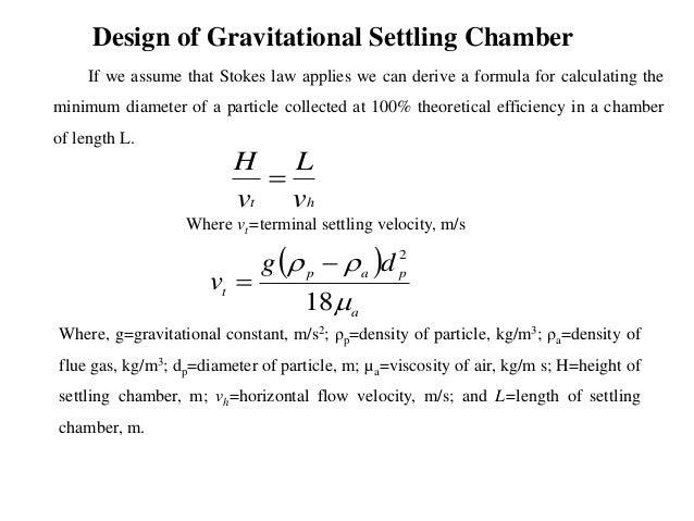 gravitational settling velocity