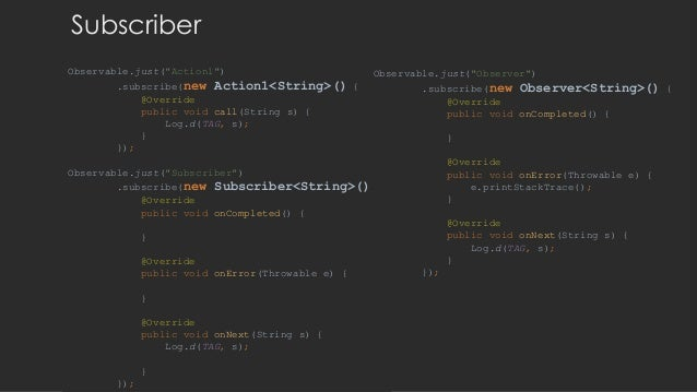 """Subscriber Observable.just(""""Action1"""") .subscribe(new Action1<String>() { @Override public void call(String s) { Log.d(TAG,..."""