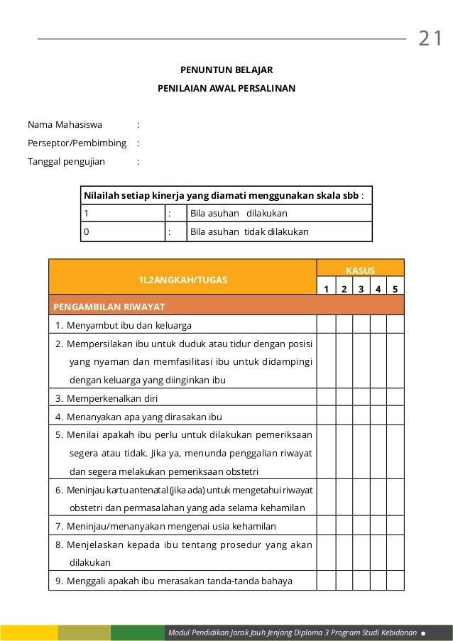Modul Pendidikan Jarak Jauh Jenjang Diploma 3 Program Studi Kebidanan 21 PENUNTUN BELAJAR PENILAIAN AWAL PERSALINAN Nama M...