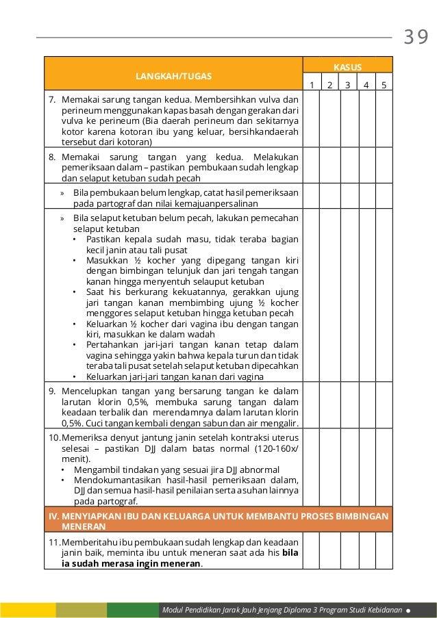 Modul Pendidikan Jarak Jauh Jenjang Diploma 3 Program Studi Kebidanan 39 LANGKAH/TUGAS KASUS 1 2 3 4 5 7. Memakai sarung ...