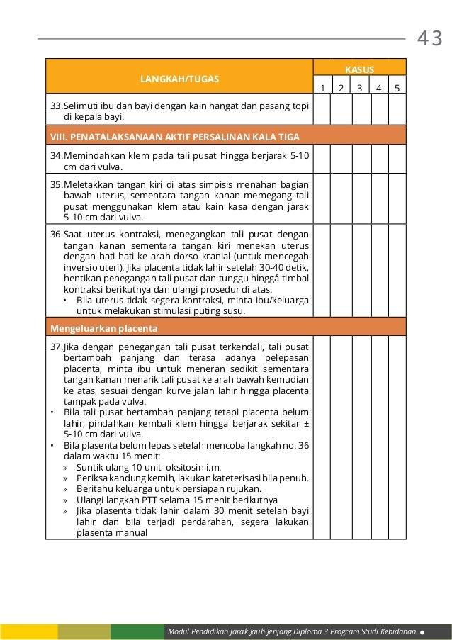 Modul Pendidikan Jarak Jauh Jenjang Diploma 3 Program Studi Kebidanan 43 LANGKAH/TUGAS KASUS 1 2 3 4 5 33.Selimuti ibu da...