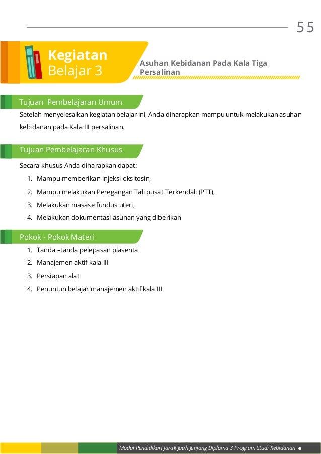 Modul Pendidikan Jarak Jauh Jenjang Diploma 3 Program Studi Kebidanan 55 Setelah menyelesaikan kegiatan belajar ini, Anda ...