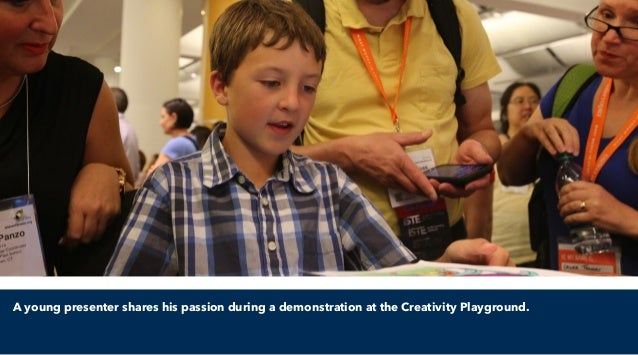 A young presenter shares his passion during a demonstration at the Creativity Playground.