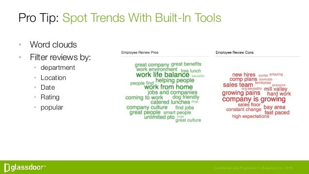 Confidential and Proprietary © Glassdoor, Inc. 2016 Pro Tip: Spot Trends With Built-In Tools • Word clouds • Filter revi...