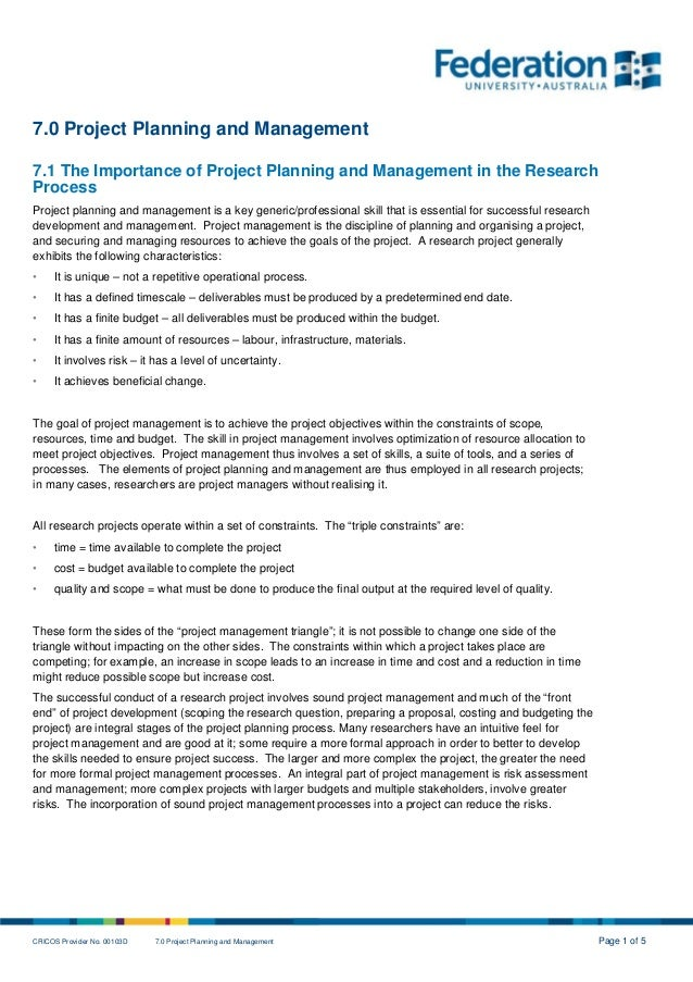 CRICOS Provider No. 00103D 7.0 Project Planning and Management Page 1 of 5 7.0 Project Planning and Management 7.1 The Imp...