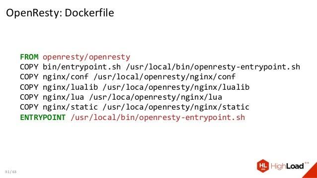 OpenResty: Dockerfile FROM openresty/openresty COPY bin/entrypoint.sh /usr/local/bin/openresty-entrypoint.sh COPY nginx/co...