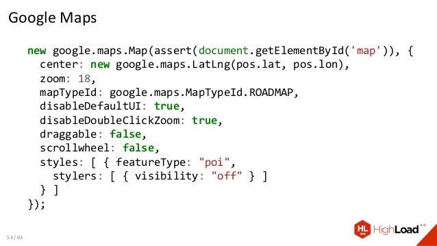Google Maps new google.maps.Map(assert(document.getElementById('map')), { center: new google.maps.LatLng(pos.lat, pos.lon)...