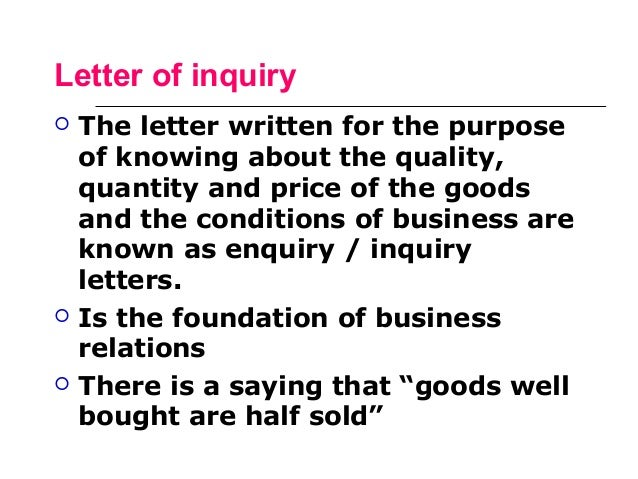7 letter of inquiry