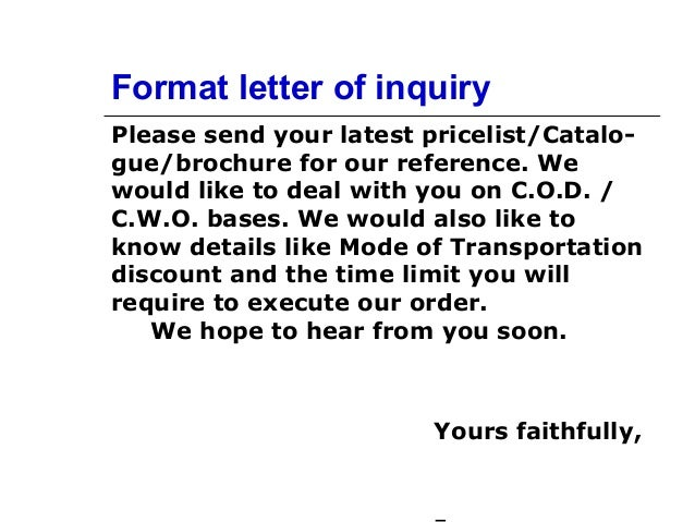 Format Letter Of Inquiry ...  Format Of Letter Of Inquiry