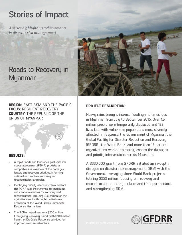 REGION: EAST ASIA AND THE PACIFIC FOCUS: RESILIENT RECOVERY COUNTRY: THE REPUBLIC OF THE UNION OF MYANMAR RESULTS: • A ra...