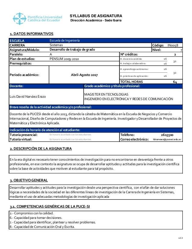 SYLLABUS DE ASIGNATURA Dirección Académica - Sede Ibarra 1. DATOS INFORMATIVOS ESCUELA CARRERA Código: IN0058 Asignatura/M...