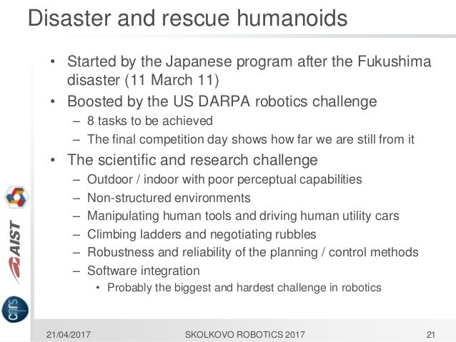Skolkovo Robotics V] Applying Anthropomorphic Robots Technology