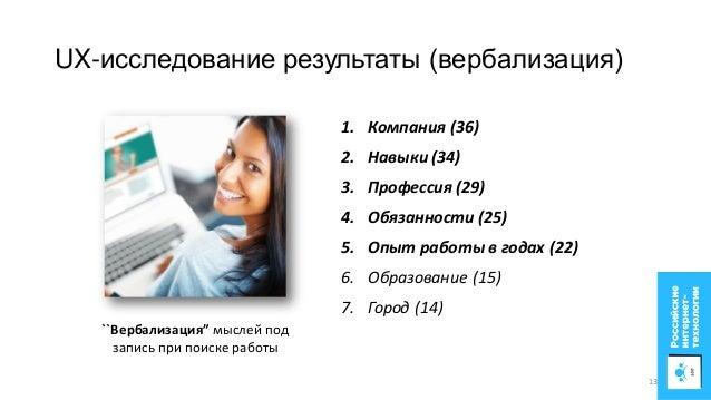 """UX-исследование результаты (вербализация) ``Вербализация"""" мыслей под запись при поиске работы 1. Компания (36) 2. Навыки (..."""