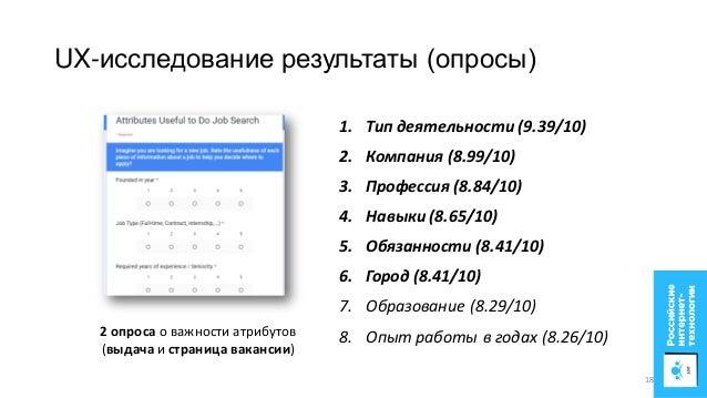 2 опроса о важности атрибутов (выдача и страница вакансии) UX-исследование результаты (опросы) 1. Тип деятельности (9.39/1...