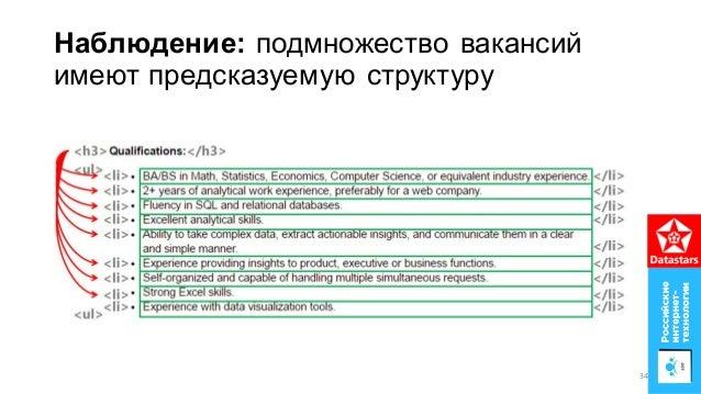 Наблюдение: подмножество вакансий имеют предсказуемую структуру 34
