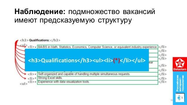 Наблюдение: подмножество вакансий имеют предсказуемую структуру <h3>Qualifications</h3><ul><li>(*)</li></ul> 35