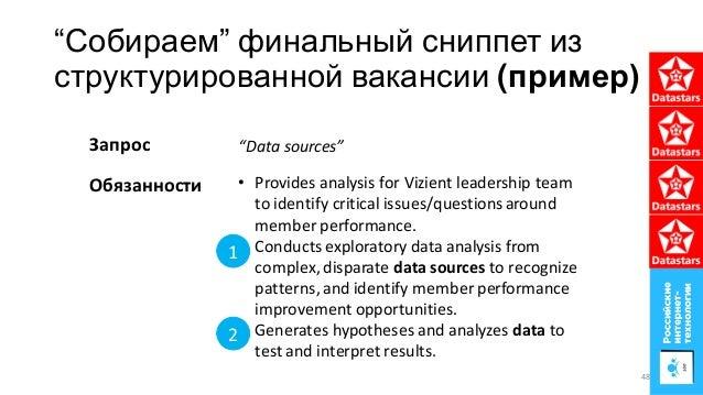"""""""Собираем"""" финальный сниппет из структурированной вакансии (пример) • Provides analysis for Vizient leadership team to ide..."""
