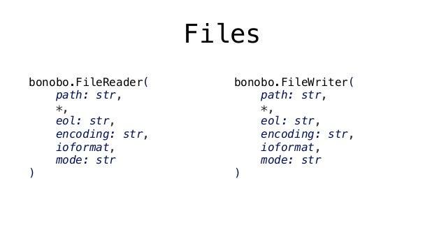 Pickle bonobo.PickleReader( path: str, *, eol: str, encoding: str, ioformat, item_names: tuple, mode: str ) bonobo.PickleW...