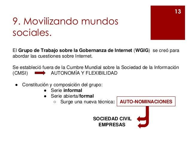 9. Movilizando mundos sociales. 13 El Grupo de Trabajo sobre la Gobernanza de Internet (WGIG) se creó para abordar las cue...