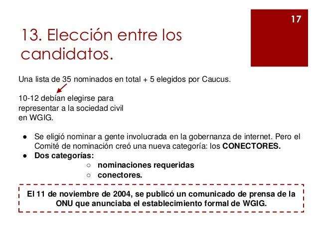 13. Elección entre los candidatos. 17 Una lista de 35 nominados en total + 5 elegidos por Caucus. 10-12 debían elegirse pa...
