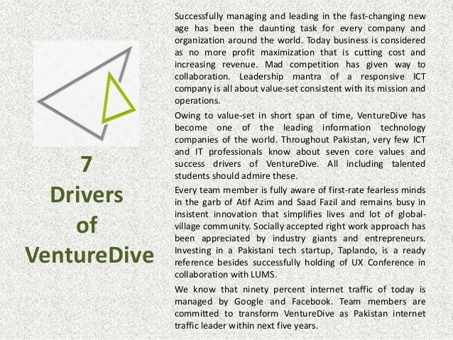 7 Drivers of VentureDive Successfully managing and leading in the fast-changing new age has been the daunting task for eve...