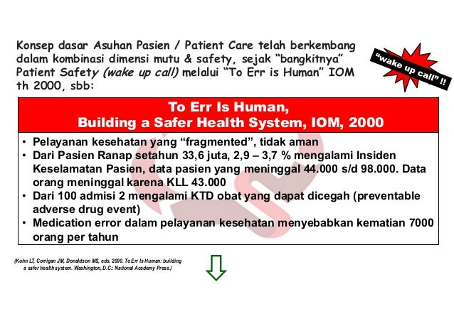 Crossing the Quality Chasm: A New Health System for the 21st Century, IOM, 2001 • Safe / Aman — menghindari cedera pada pa...