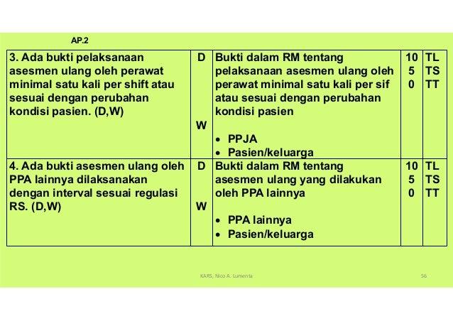 (Maksud dan Tujuan AP.2 dan AP 2.1) 9.dengan memperhatikan: • Interval sepanjang asuhan pasien (contoh, perawat mencatat s...