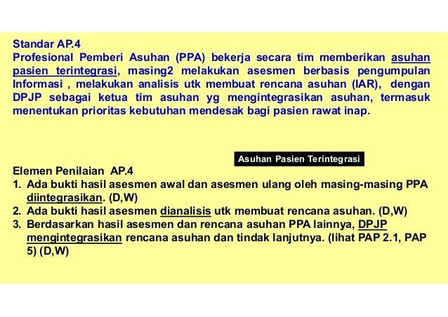 Konsep Patient Centred Care (Std HPK) Konsep Inti Core Concept Asuhan Pasien Terintegrasi Perspektif Pasien Perspektif PPA...