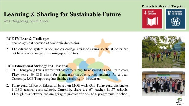 Learning & Sharing for Sustainable Future RCE Tongyeong, South Korea RCE TY Issue & Challenge: 1. unemployment because of ...