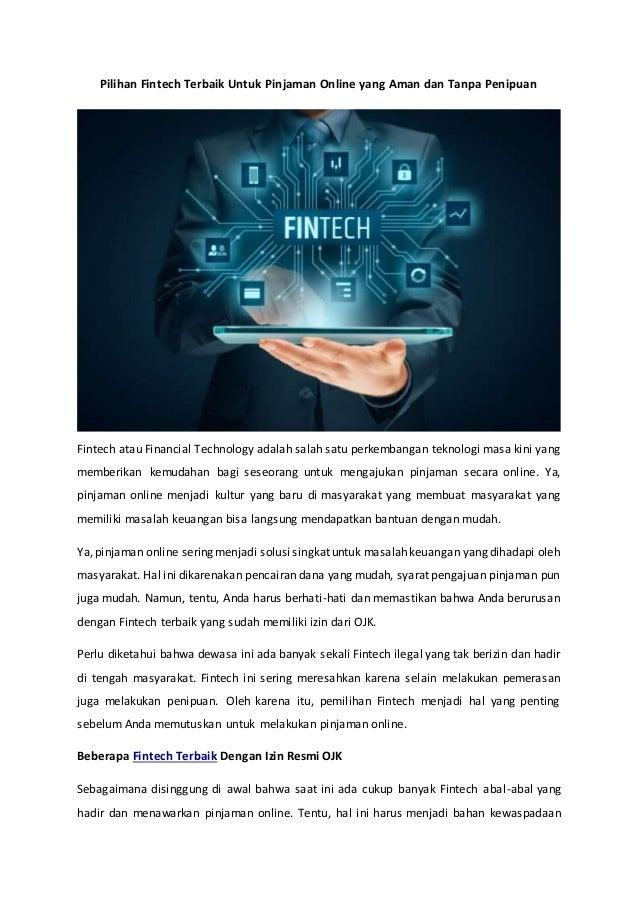 Pilihan Fintech Terbaik Untuk Pinjaman Online Yang Aman Dan Tanpa Pen
