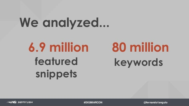 More Traffic Increased CTR More Revenue Used for Voice Search Why do Featured Snippets Matter? $ #DIGIMARCON @fernando1ang...