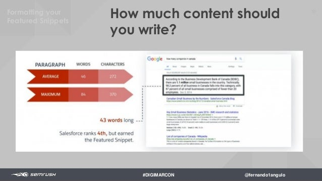 52 Headers and subheaders are used on average in top performers. 22 Formatting your Featured Snippets #DIGIMARCON @fernand...