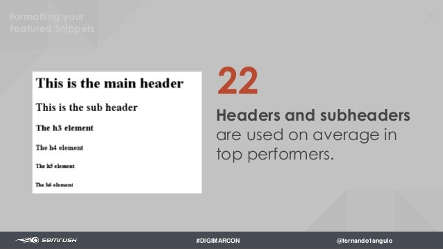 54 The average Flesch- Kincaid reading level was 7th grade. Formatting your Featured Snippets