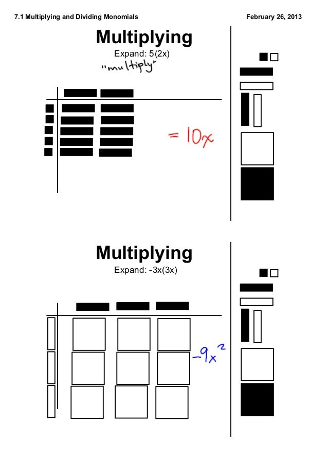 7.1 Multiplying and Dividing Monomials