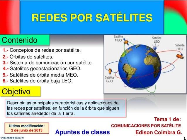 REDES POR SATÉLITES1www.coimbraweb.comContenidoObjetivoEdison Coimbra G.COMUNICACIONES POR SATÉLITETema 1 de:Última modifi...