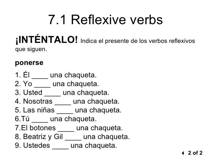 71 Reflexive verbs – Reflexive Verbs Worksheet