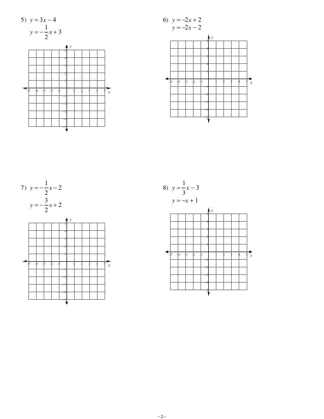 Solving Systems Of Equations by Graphing Worksheet ...