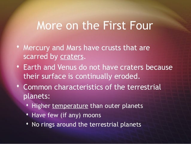 the characteristics of planet mercury Mercury is the closest planet to the sunthis is the second-smallest planet within the terran systemupon the celestial sphere, mercury ranges from -04 to 55, in apparent magnitudethe only spacecraft to approach mercury was mariner 10 () physical characteristics  mercury has no natural satellites and only trace amounts of atmosphereits surface appears very similar to earth's moon, but.